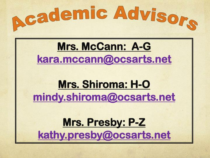 Academic Advisors