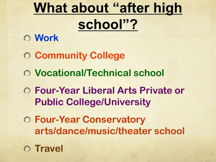 "What about ""after high school""?"