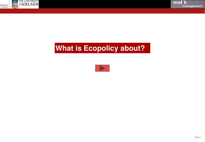 What is Ecopolicy about?