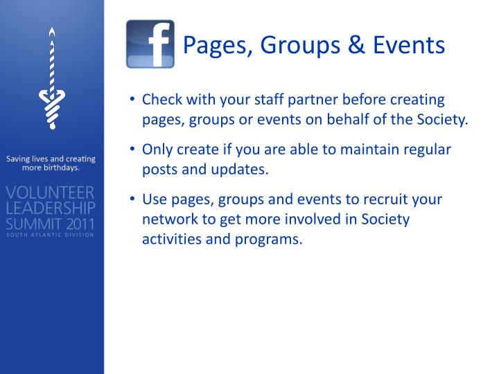 Pages, Groups & Events