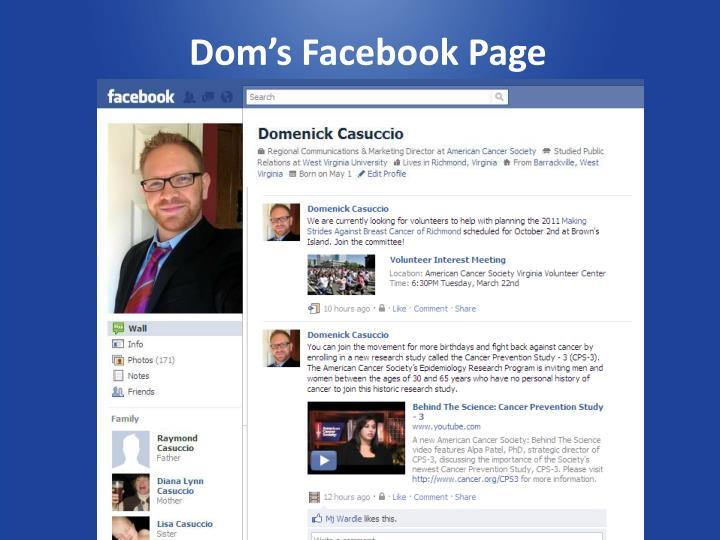 Dom's Facebook Page