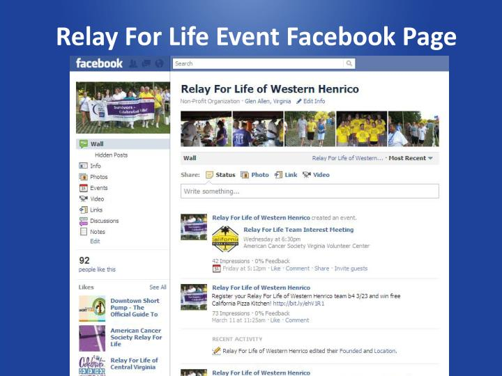 Relay For Life Event Facebook Page