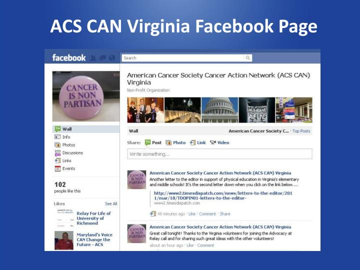ACS CAN Virginia Facebook Page