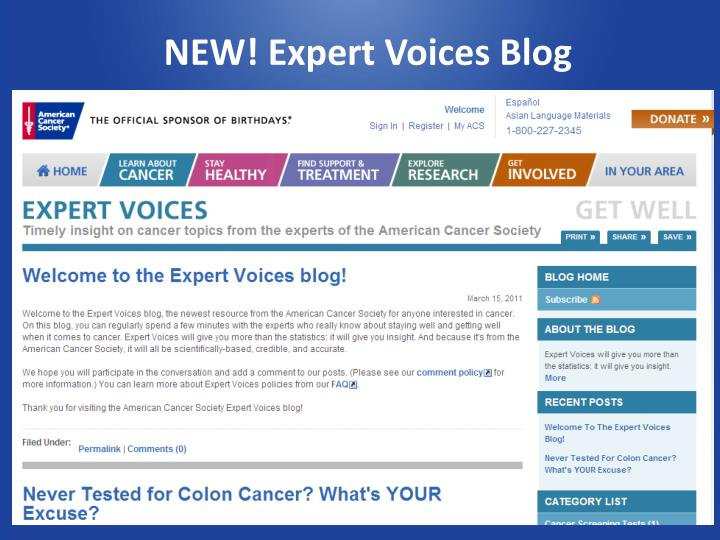 NEW! Expert Voices Blog