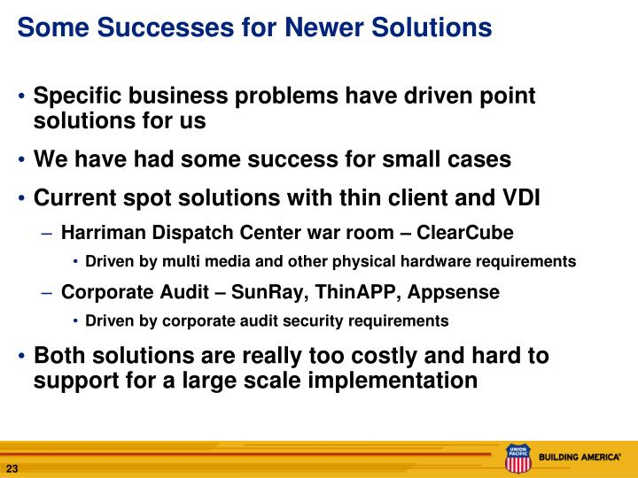 Some Successes for Newer Solutions