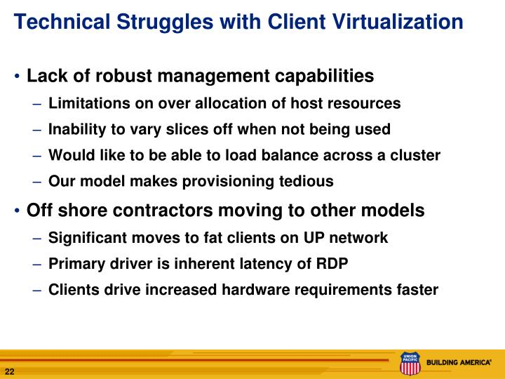 Technical Struggles with Client Virtualization