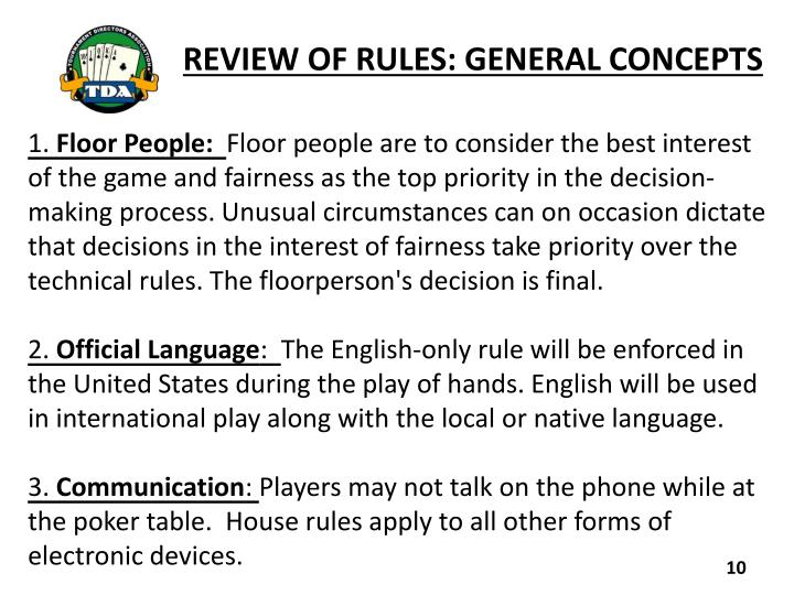 REVIEW OF RULES: GENERAL CONCEPTS