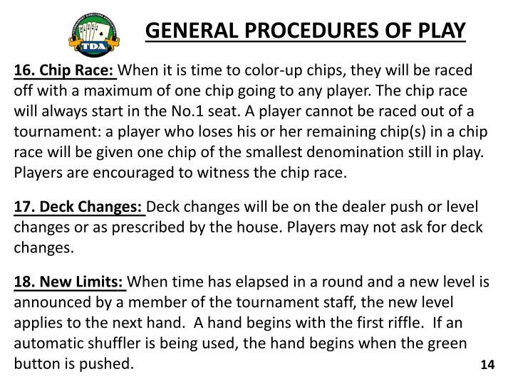 GENERAL PROCEDURES OF PLAY