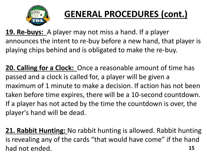 GENERAL PROCEDURES (cont.)