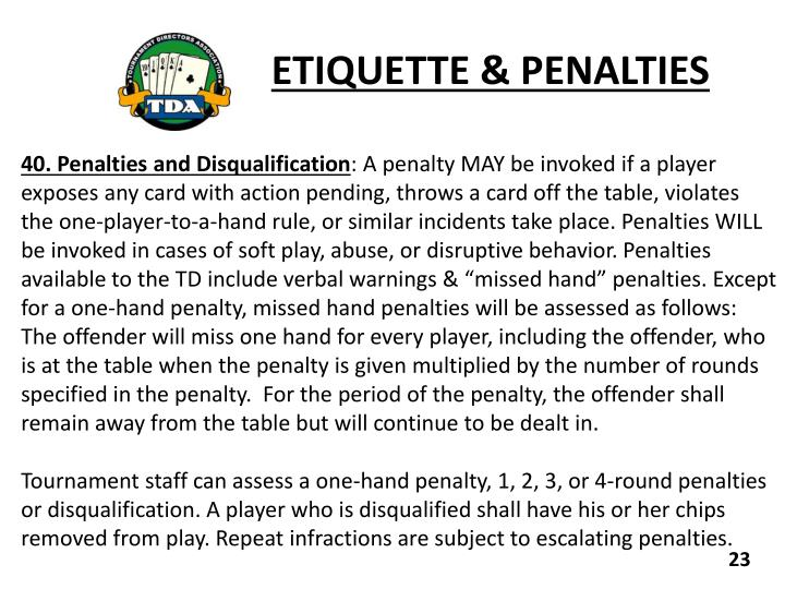 ETIQUETTE & PENALTIES