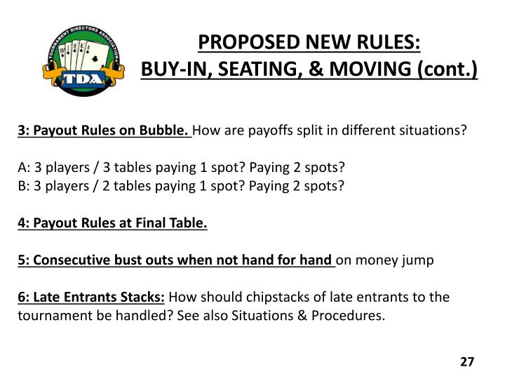PROPOSED NEW RULES: