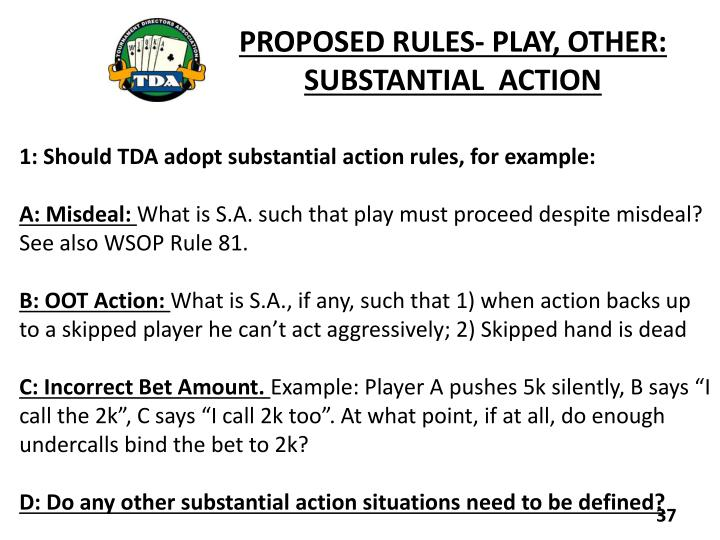 PROPOSED RULES- PLAY, OTHER: