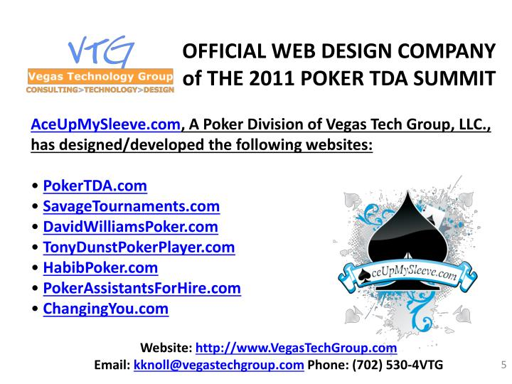 OFFICIAL WEB DESIGN COMPANY of THE 2011 POKER TDA SUMMIT
