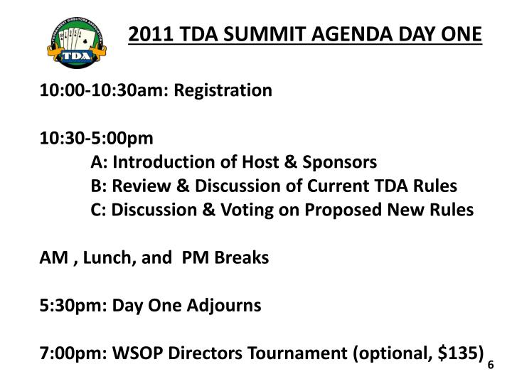 2011 TDA SUMMIT AGENDA DAY ONE