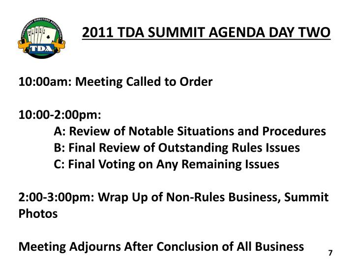 2011 TDA SUMMIT AGENDA DAY TWO
