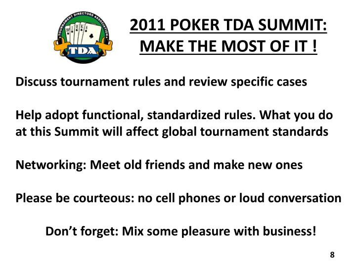 2011 POKER TDA SUMMIT: