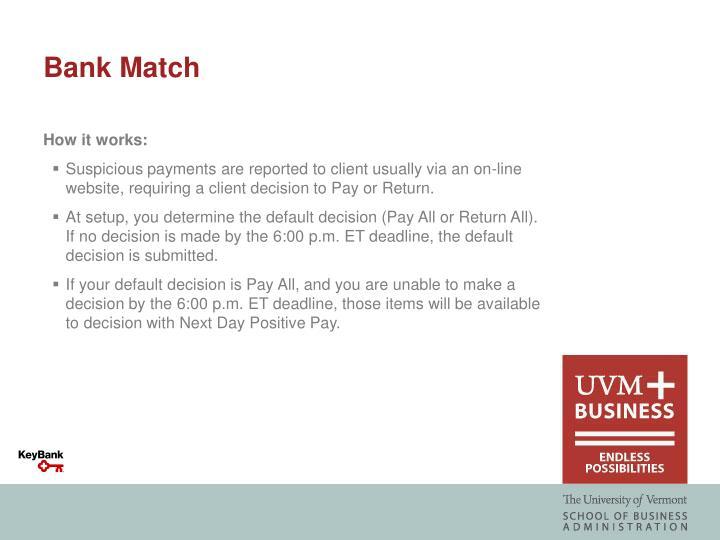 Bank Match