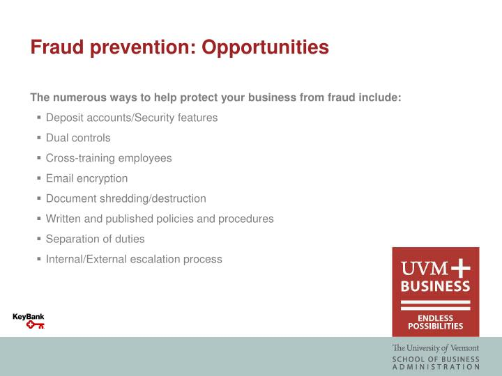 Fraud prevention: Opportunities