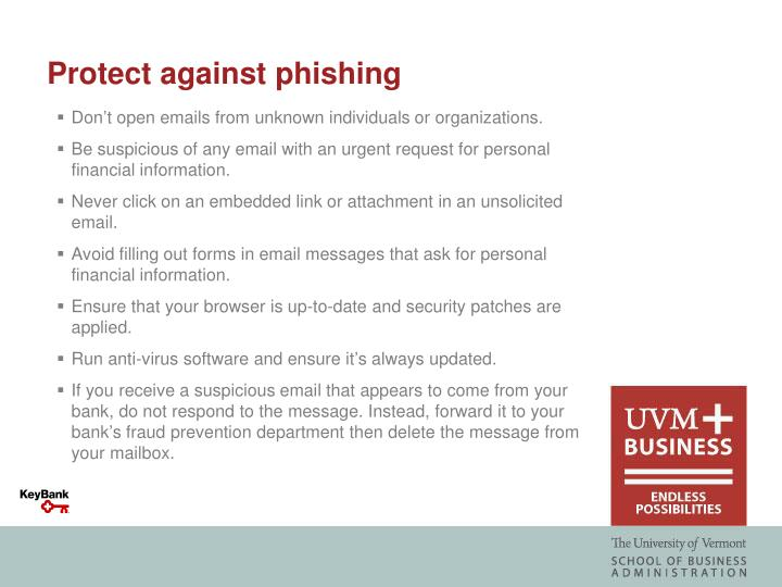 Protect against phishing