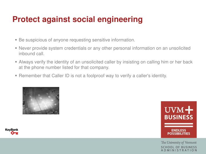 Protect against social engineering