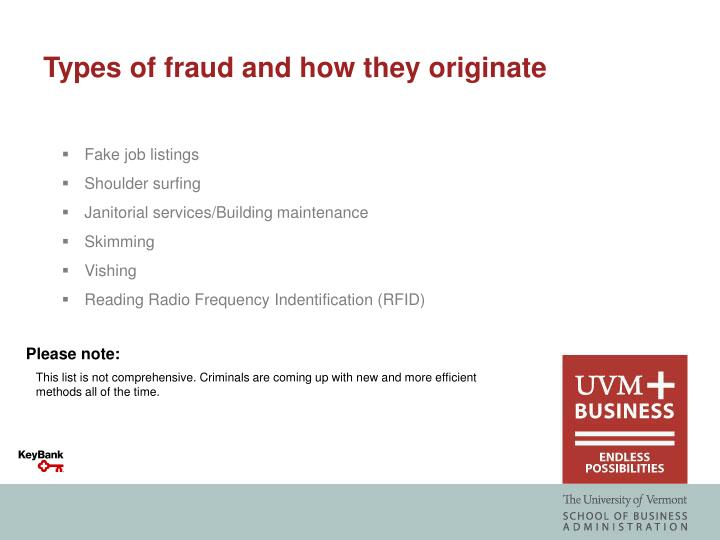 Types of fraud and how they originate