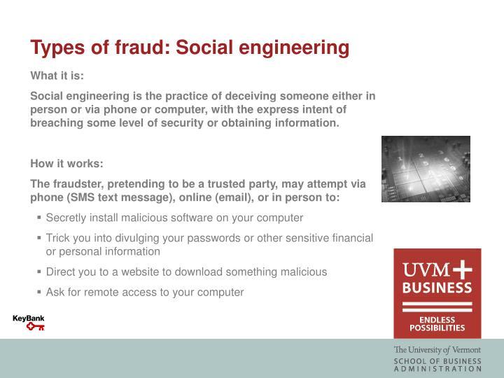 Types of fraud: Social engineering