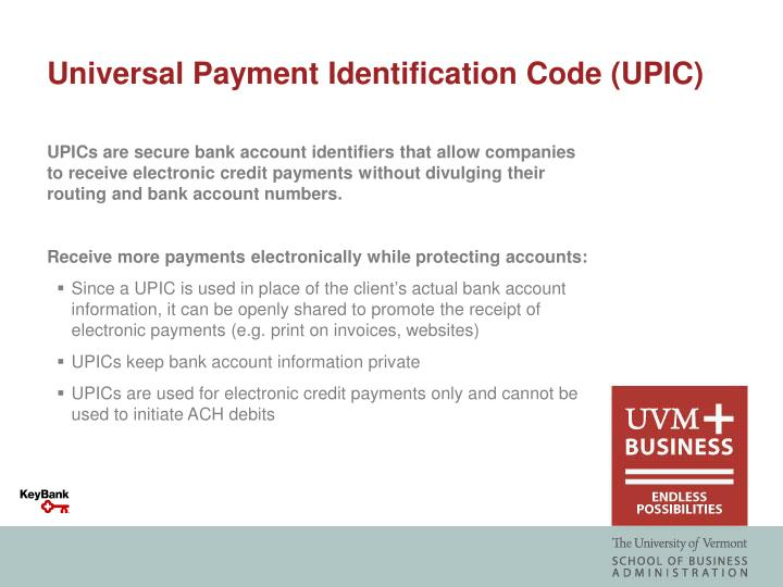 Universal Payment Identification Code (UPIC)