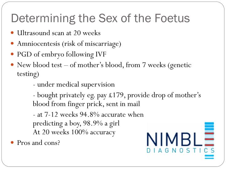 Determining the Sex of the Foetus