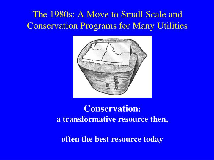 The 1980s: A Move to Small Scale and Conservation Programs for Many Utilities