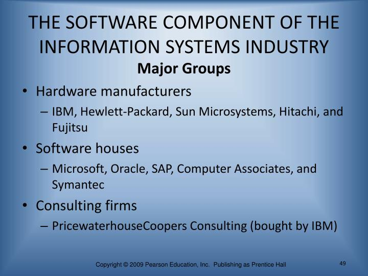 THE SOFTWARE COMPONENT OF THE INFORMATION SYSTEMS INDUSTRY