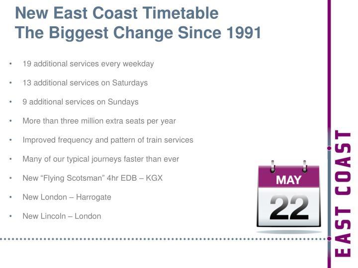 New East Coast Timetable