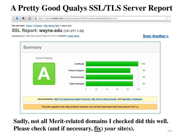 A Pretty Good Qualys SSL/TLS Server Report