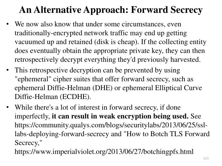 An Alternative Approach: Forward Secrecy