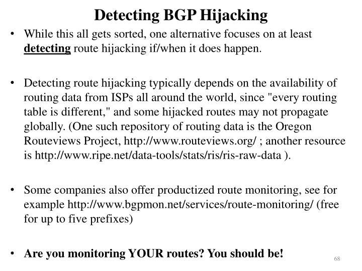 Detecting BGP Hijacking