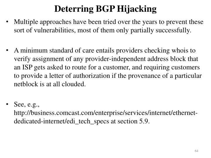 Deterring BGP Hijacking