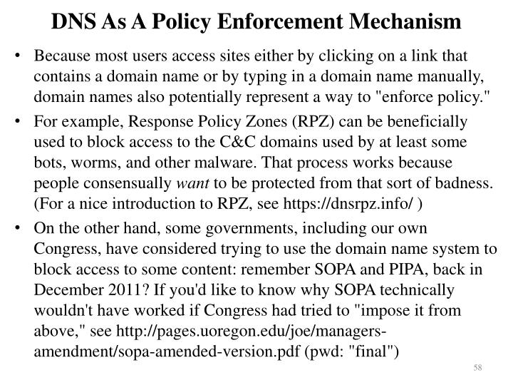 DNS As A Policy Enforcement Mechanism