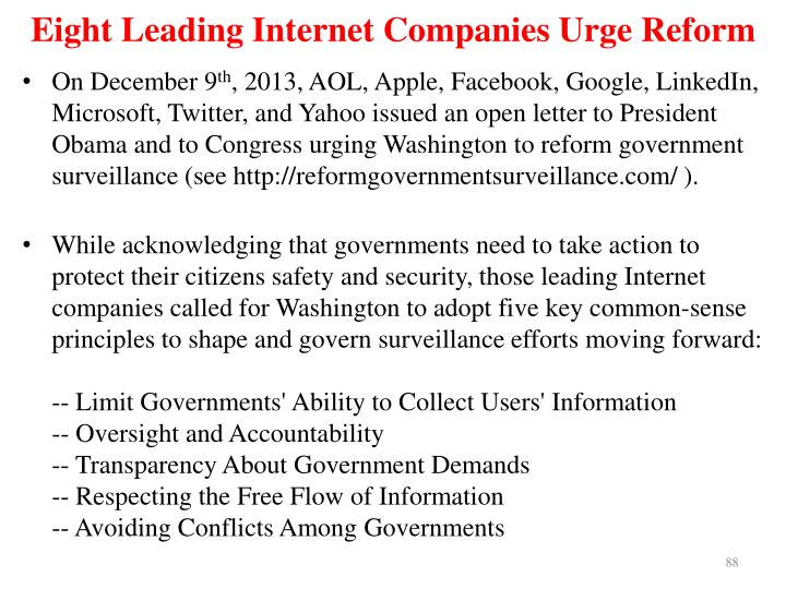 Eight Leading Internet Companies Urge Reform