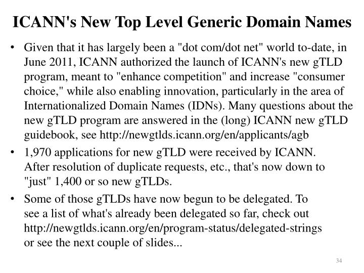 ICANN's New Top Level Generic Domain Names