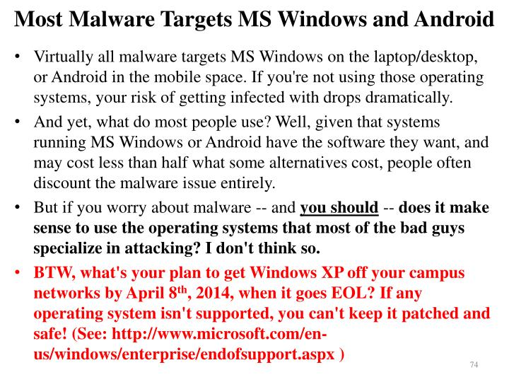 Most Malware Targets MS Windows and Android