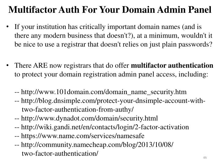 Multifactor Auth For Your Domain Admin Panel