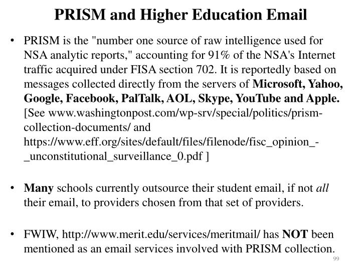 PRISM and Higher Education Email