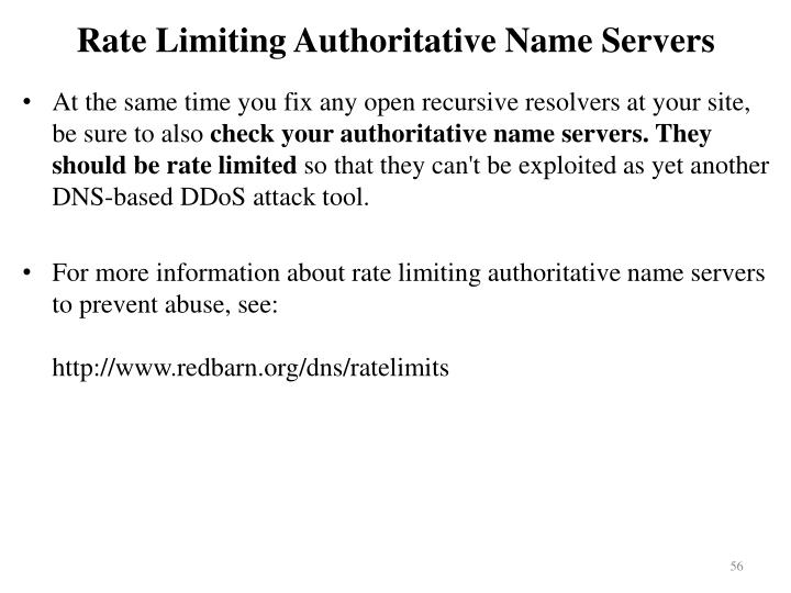 Rate Limiting Authoritative Name Servers