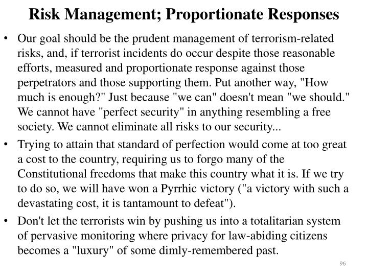 Risk Management; Proportionate Responses