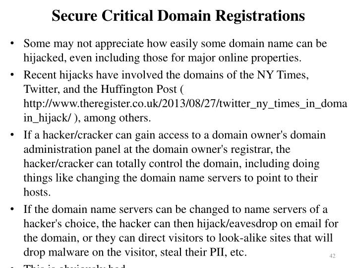 Secure Critical Domain Registrations