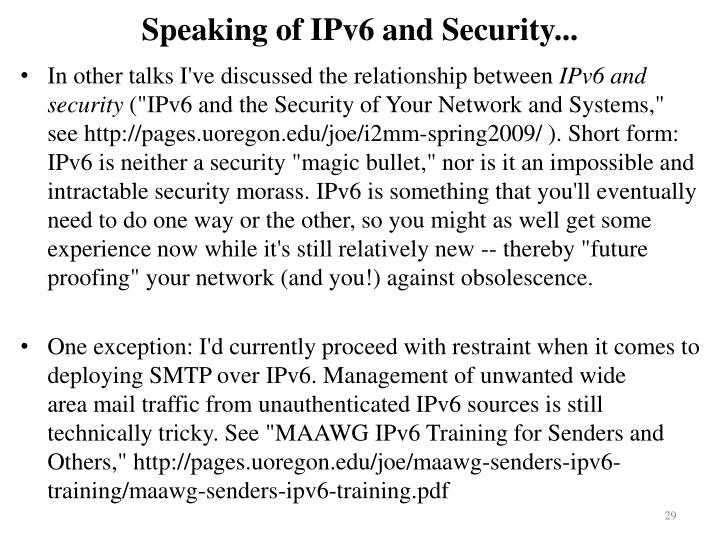 Speaking of IPv6 and Security...