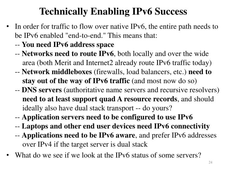 Technically Enabling IPv6 Success