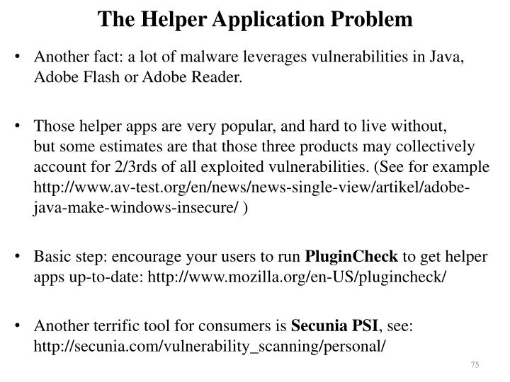 The Helper Application Problem