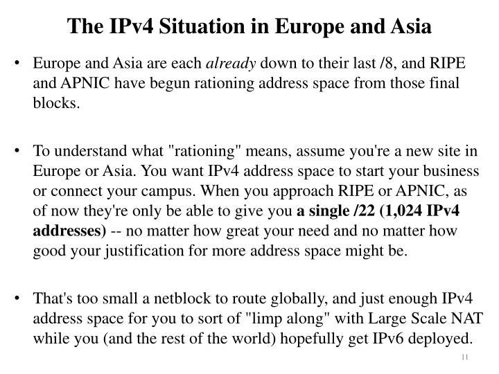 The IPv4 Situation in Europe and Asia