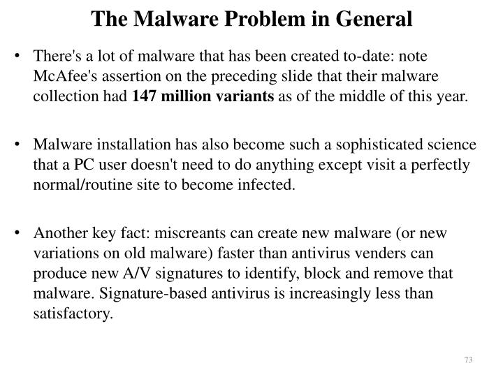 The Malware Problem in General