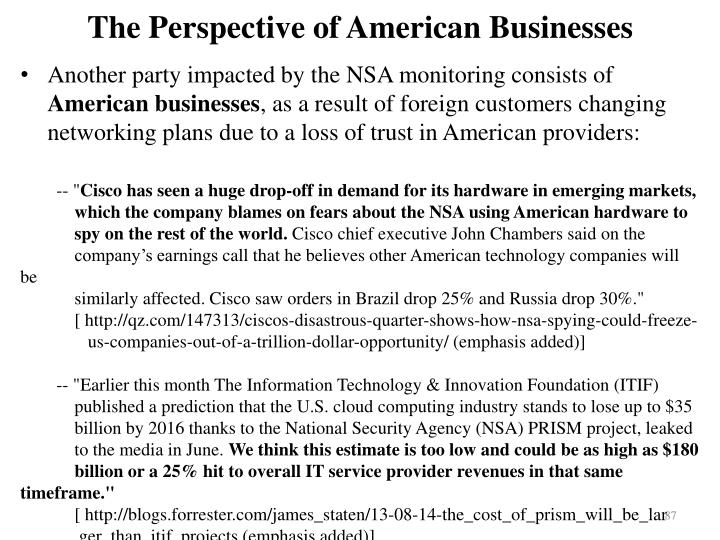 The Perspective of American Businesses